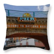 Main Street Pier And Boardwalk Throw Pillow by David Lee Thompson