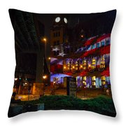 Main Street Station At Night Throw Pillow