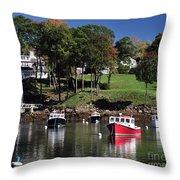 maine 18 Rock Port harbor View Throw Pillow