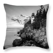Maine Acadia Bass Harbor Lighthouse In Black And White Throw Pillow by Ranjay Mitra