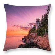 Maine Acadia Bass Harbor Lighthouse Sunset Throw Pillow by Ranjay Mitra