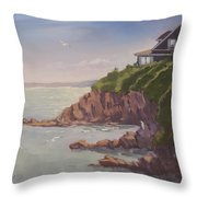 Maine Coast Abode - Art By Bill Tomsa Throw Pillow