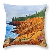 Maine Coast Acadia National Park Throw Pillow