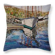 Maine Coast Boat Reflections Throw Pillow