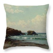 Maine Coast, C.1885 Oil On Canvas By Alfred Thompson Bricher Throw Pillow