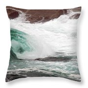 Maine Coast Storm Waves 1 Of 3 Throw Pillow