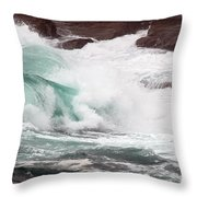 Maine Coast Storm Waves 2 Of 3 Throw Pillow