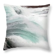 Maine Coast Storm Waves 3 Of 3 Throw Pillow