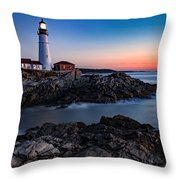 Maine Coastline Sunrise Throw Pillow