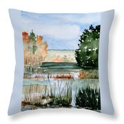 Maine Fall Reflections Throw Pillow