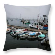 Maine Falmouth Boat Landing On Misty Morning Panorama Throw Pillow