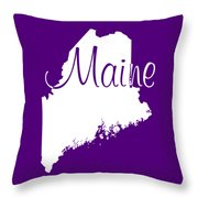 Maine In White Throw Pillow
