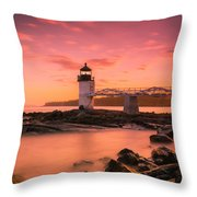 Maine Lighthouse Marshall Point At Sunset Throw Pillow by Ranjay Mitra
