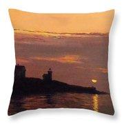 Maine Lighthouse Sundown Throw Pillow