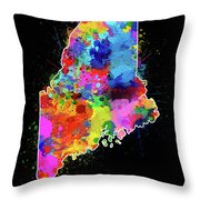 Maine Map Color Splatter 2 Throw Pillow