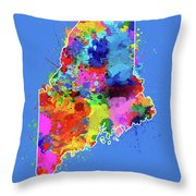 Maine Map Color Splatter 3 Throw Pillow