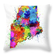 Maine Map Color Splatter Throw Pillow