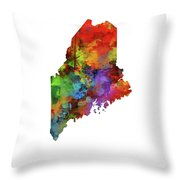 Maine Map Watercolor Throw Pillow