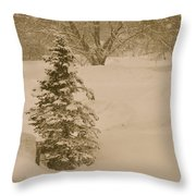 Maine Snowy Day Throw Pillow