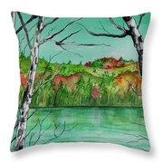 Maine's Autumn Finery Throw Pillow