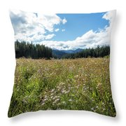 Maisie In A Field Of Flowers Throw Pillow