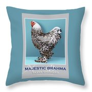Majestic Brahma Silver Spangled Throw Pillow