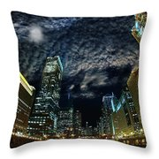 Majestic Chicago - Windy City Riverfront At Night Throw Pillow
