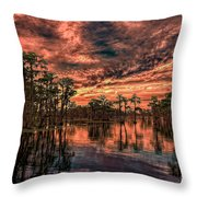 Majestic Cypress Paradise Sunset Throw Pillow