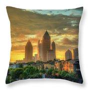 Majestic Gold Midtown Atlantic-station Atlanta Sunrise Art Throw Pillow