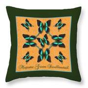 Majestic Green Swallowtail Wheel Throw Pillow