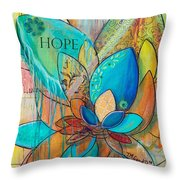 Spirit Lotus With Hope Throw Pillow by TM Gand