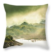 Majestic Morning Lake Throw Pillow