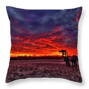 Majestic Red Clouds Winter Sunset The Iron Horse Art Throw Pillow