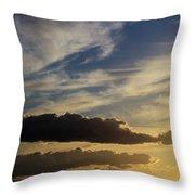Majestic Vivid Sunset  Over Dark Mountains Throw Pillow