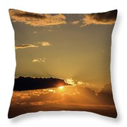 Majestic Vivid Sunset/sunrise With Dark Heavy Clouds And Sunrays Throw Pillow