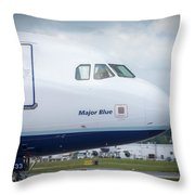 Major Blue Throw Pillow