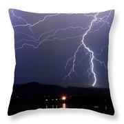 Major Foothills Lightning Strikes Throw Pillow