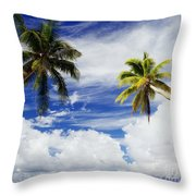 Majuro Atoll, Two Coconut Trees Lean Over Throw Pillow