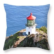 Makapuu Lighthouse 1065 Throw Pillow by Michael Peychich