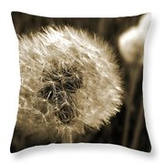 Make-a-wish Dandelion Sepia Throw Pillow