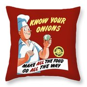 Make All The Food Go All The Way Throw Pillow by War Is Hell Store