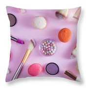 Make Up And Sweets Throw Pillow