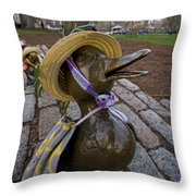 Make Way For Ducklings B.a.a. 5k Spring Bonnet Blanket Throw Pillow
