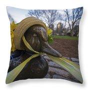 Make Way For Ducklings B.a.a. 5k Spring Bonnet Throw Pillow