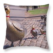 Make Way For The Ducklings Throw Pillow