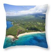 Makena Beach Aerial Throw Pillow