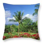 Makena Beach Golf Course Throw Pillow