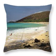Makena Beach Panorama Throw Pillow