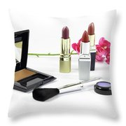 Makeup Brush And Cosmetics Throw Pillow