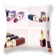 Makeup Set Of Lipsticks Isolated Throw Pillow